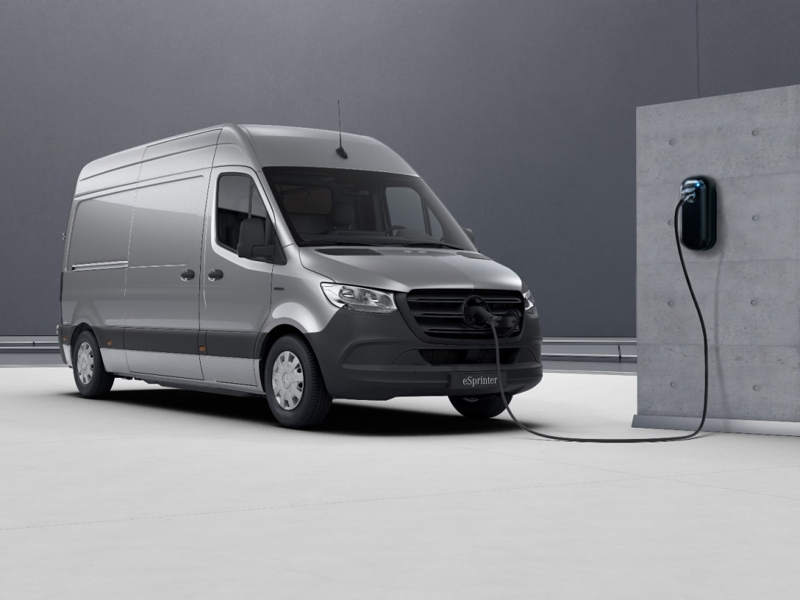 eSprinter fourgon, charge AC 7,4 kW / charge DC 20 kW